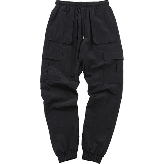Nylon Metal Cargo Jogger Pants [Black],NOT4NERD