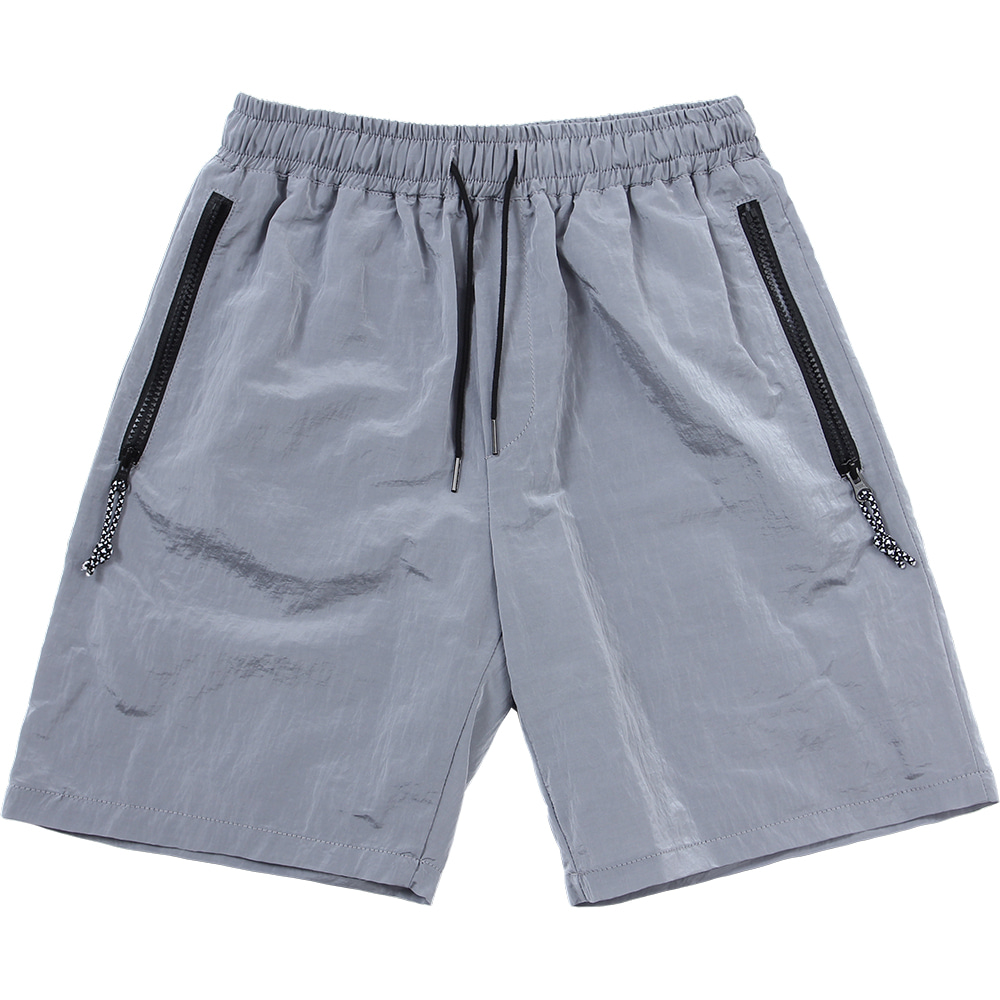 Nylon Metal Zipper Short [Silver],NOT4NERD