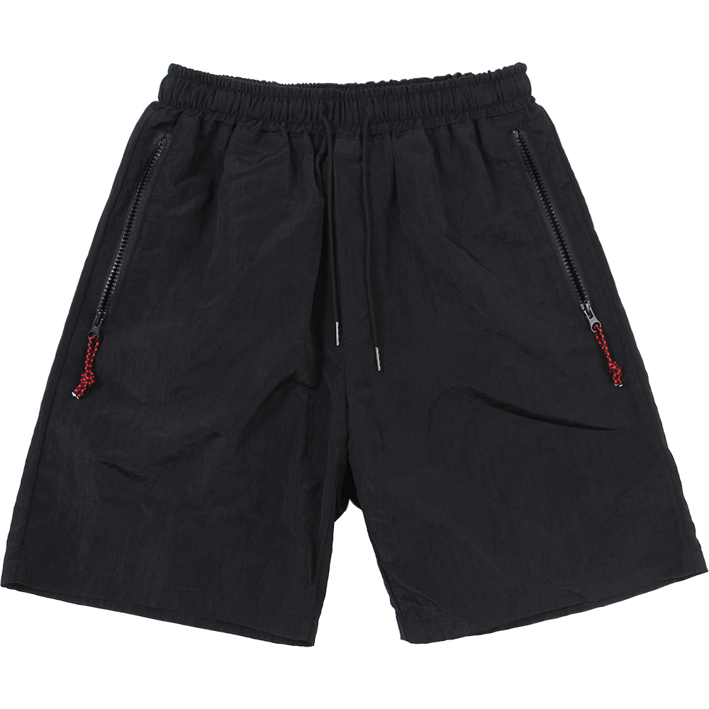 Nylon Metal Zipper Short [Black],NOT4NERD