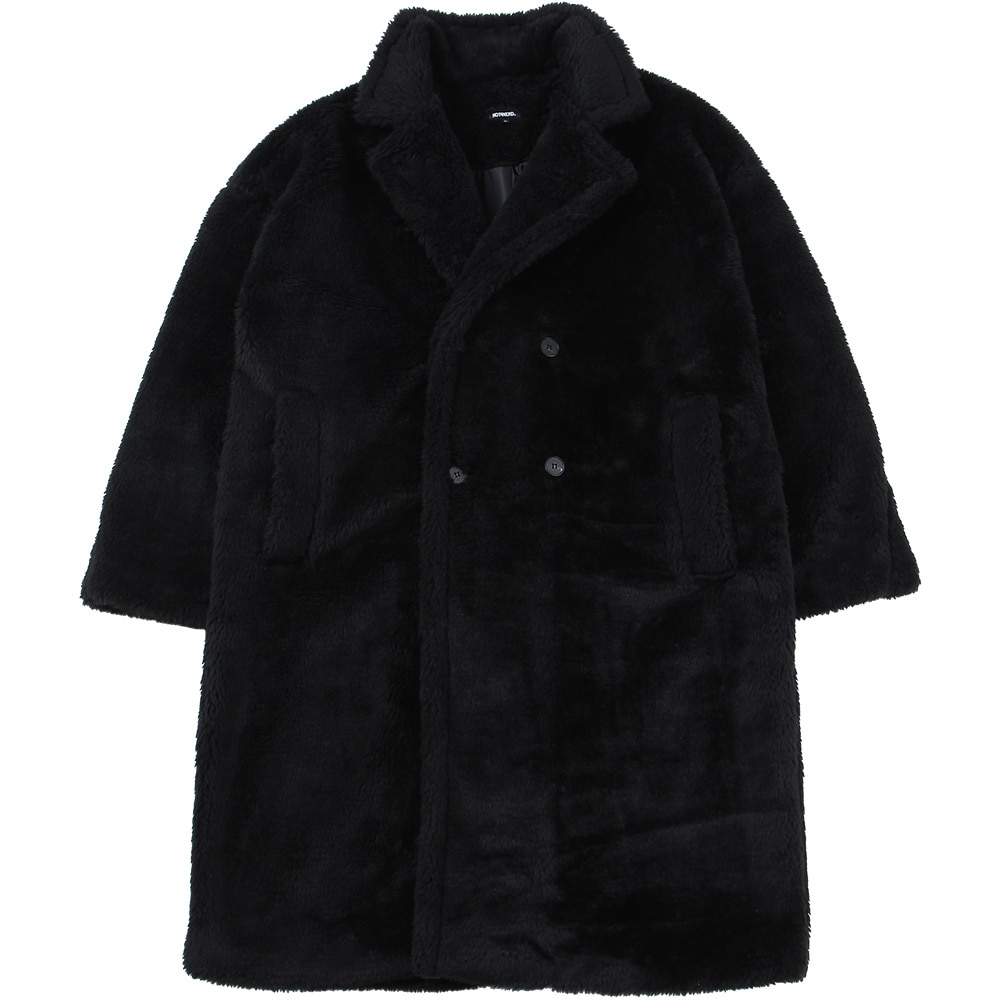 Essential Logo Fur Coat [Black],NOT4NERD