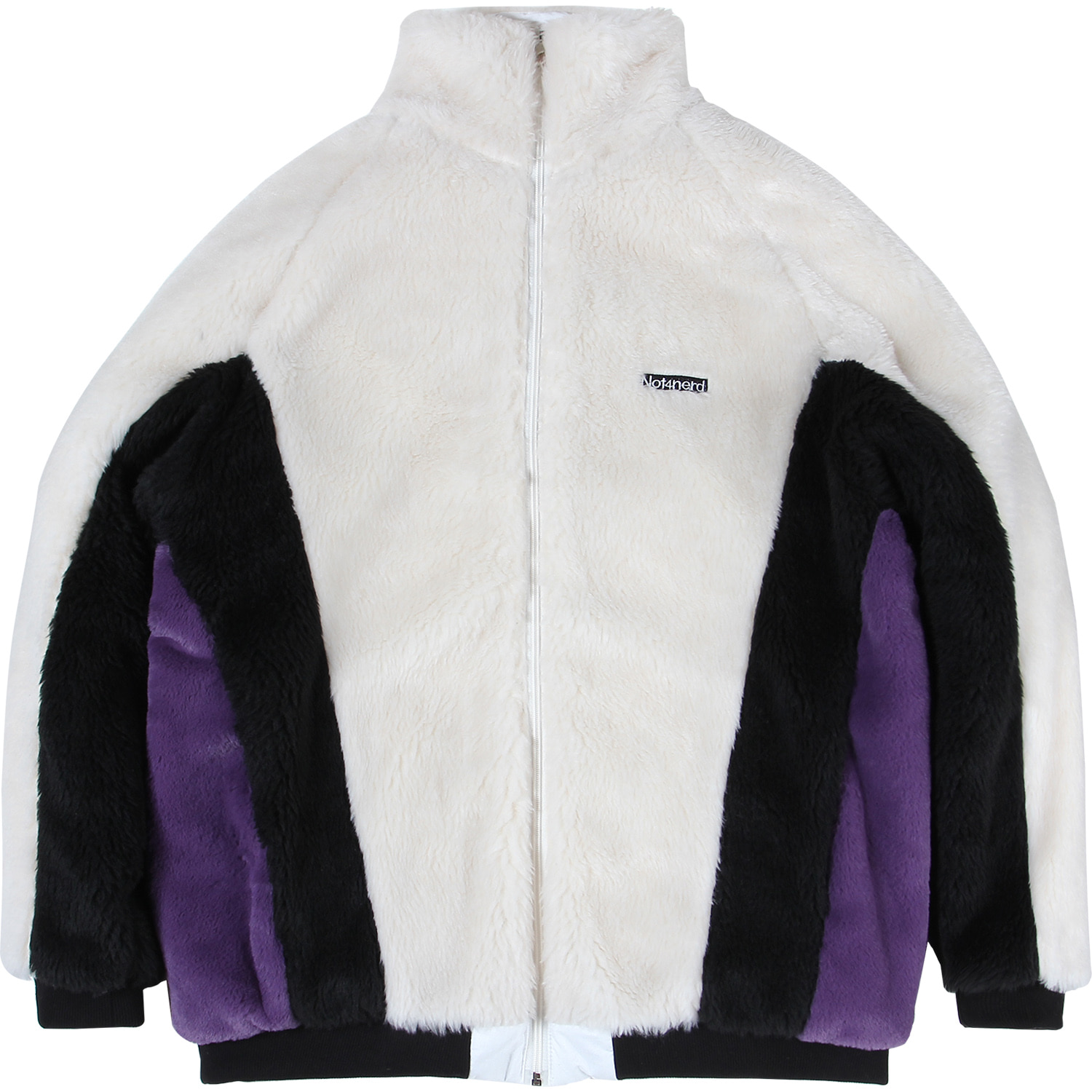 Reversible Symbol Logo Boa Fleece Jacket [White],NOT4NERD